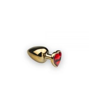 Анальная пробка sLash Heart Ruby S Золотая
