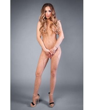 Сетка LeFrivole Bodystocking in net crochet look with openings S/L (40-46) Телесная
