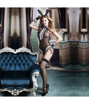Эротический костюм зайки JSY Непослушная Сьюзен S/M Черный/Белый