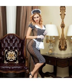 Эротический костюм горничной JSY Скромница Катрин Черный/Белый S/M