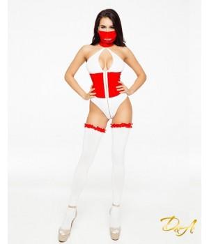 Эротический костюм медсестры D&A Развратная Аэлита Белый/Красный XS-S