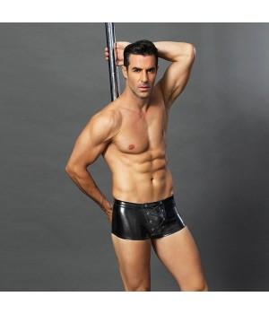 Эротические мужские лаковые трусы JSY со шнуровкой Черные S/M