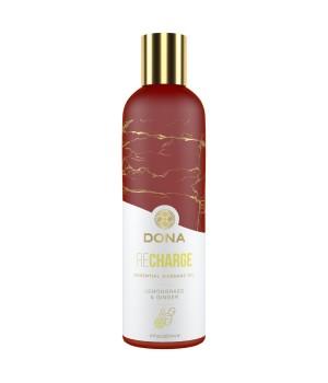 Натуральное массажное масло DONA Recharge Lemongrass & Gingerl с эфирными маслами 120 мл