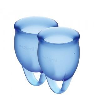 Набор менструальных чаш Satisfyer Feel Confident Синие 15мл и 20мл мешочек для хранения