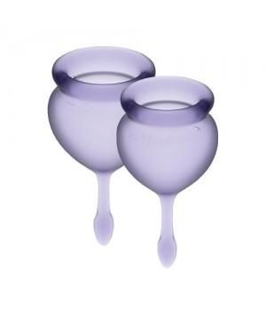 Набор менструальных чаш Satisfyer Feel Good Фиолетовые 15мл и 20мл мешочек для хранения
