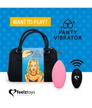 Вибратор в трусики FeelzToys Panty Vibrator Розовый с пультом ДУ, 6 режимов работы, сумочка-чехол