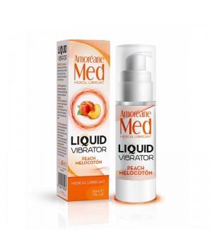 Лубрикант с эффектом вибрации Amoreane Med Liquid Vibrator Peach 30 мл