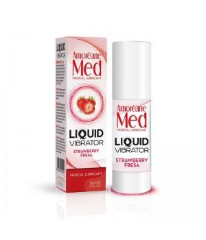 Лубрикант с эффектом вибрации Amoreane Med Liquid Vibrator Strawberry 30 мл